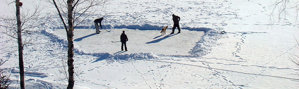 kids playing ice hockey on frozen pond